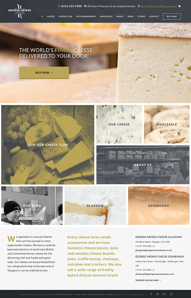 George Mewes Cheesemongers Website